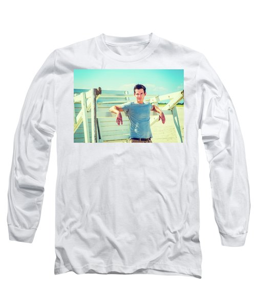 Young Man Relaxing On The Beach Long Sleeve T-Shirt