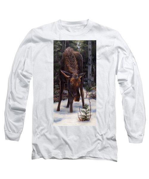 Long Sleeve T-Shirt featuring the painting Young Moose And Pussy Willows Springtime In Alaska Wildlife Painting by Karen Whitworth