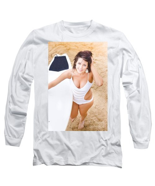 Young Surfer Woman Long Sleeve T-Shirt