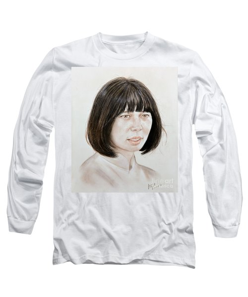 Long Sleeve T-Shirt featuring the mixed media Young Vietnamese Woman by Jim Fitzpatrick