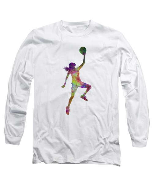 Young Woman Basketball Player 02 In Watercolor Long Sleeve T-Shirt