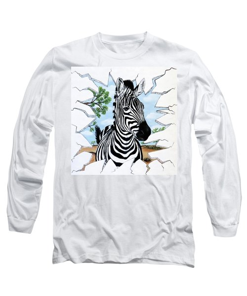 Long Sleeve T-Shirt featuring the painting Zany Zebra by Teresa Wing