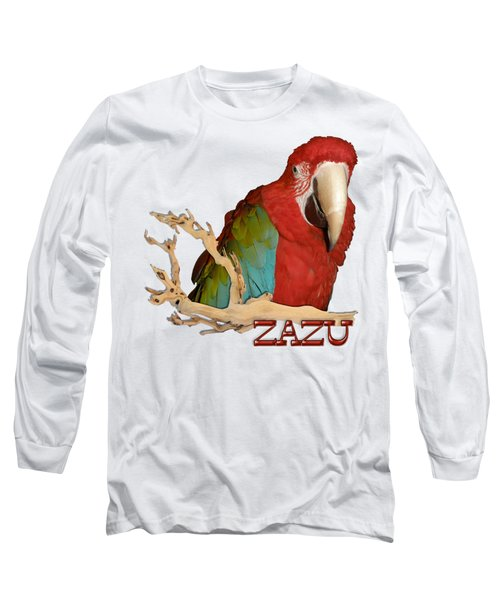 Zazu With Branch Long Sleeve T-Shirt by Zazu's House Parrot Sanctuary