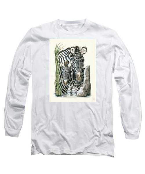 Zebra Mother And Colt Protect Our Children Painting Long Sleeve T-Shirt