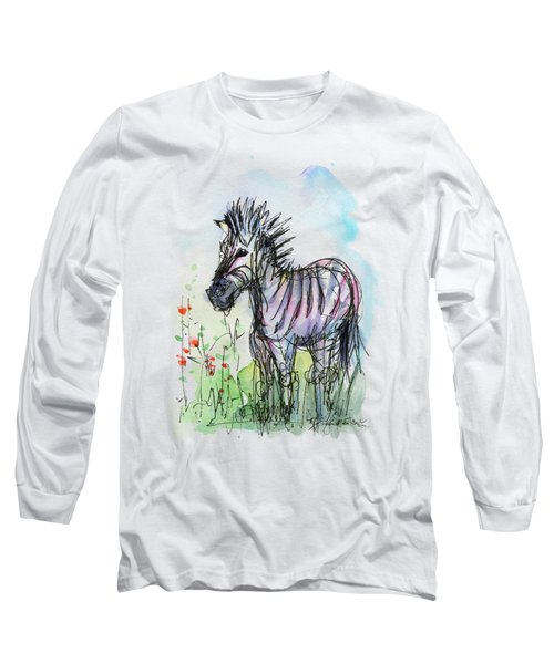 Zebra Painting Watercolor Sketch Long Sleeve T-Shirt by Olga Shvartsur