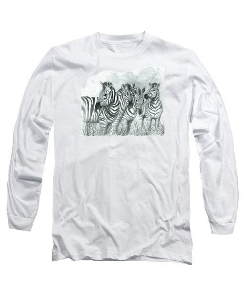 Zebra Quartet Long Sleeve T-Shirt by Phyllis Howard