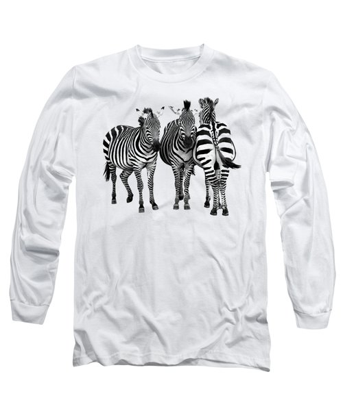 Zebra - Three's A Crowd Long Sleeve T-Shirt by Gill Billington