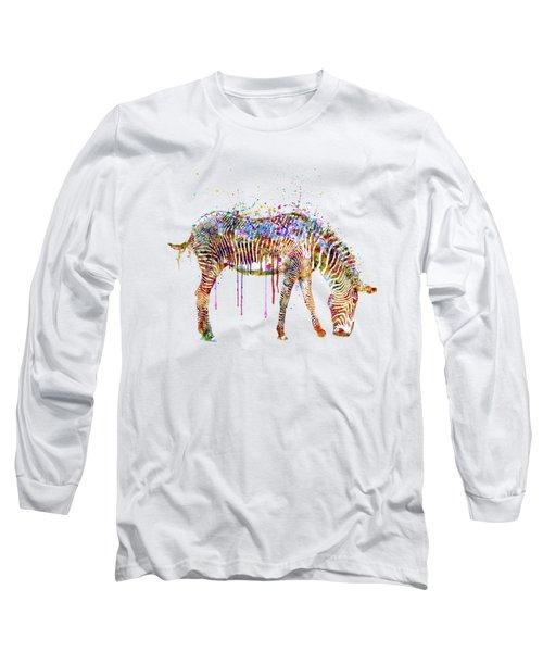 Zebra Watercolor Painting Long Sleeve T-Shirt