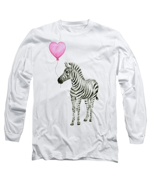 Zebra Watercolor Whimsical Animal With Balloon Long Sleeve T-Shirt