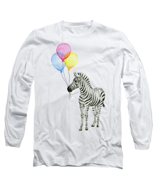 Zebra With Balloons Watercolor Whimsical Animal Long Sleeve T-Shirt by Olga Shvartsur