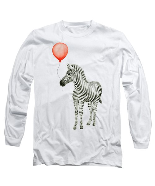 Zebra With Red Balloon Whimsical Baby Animals Long Sleeve T-Shirt by Olga Shvartsur
