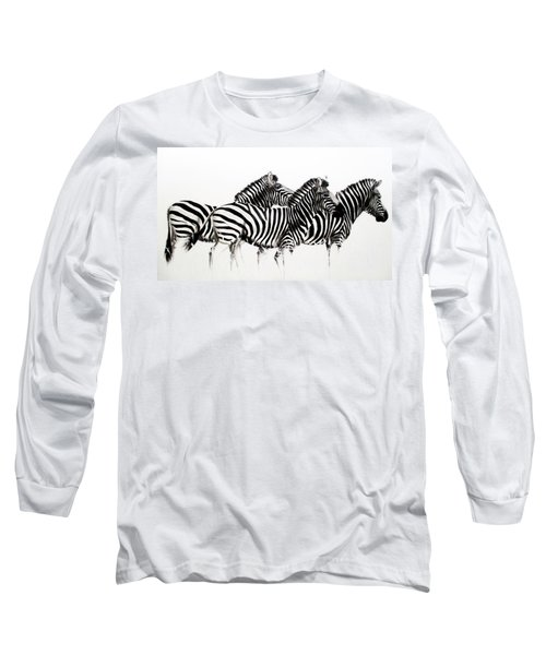 Zebras - Black And White Long Sleeve T-Shirt