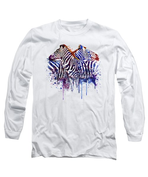Zebras In Love Long Sleeve T-Shirt by Marian Voicu