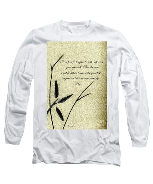 Zen Sumi 4m Antique Motivational Flower Ink On Watercolor Paper By Ricardos Long Sleeve T-Shirt