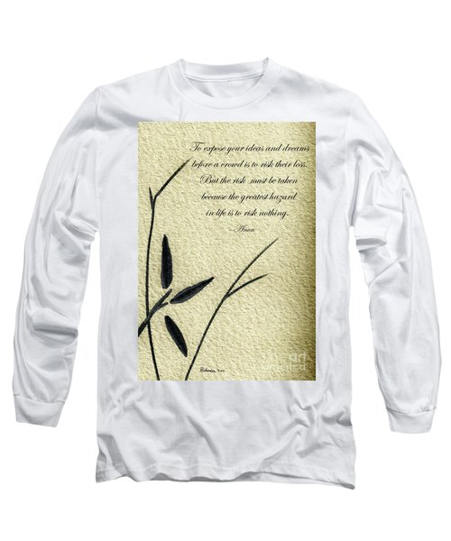 Zen Sumi 4n Antique Motivational Flower Ink On Watercolor Paper By Ricardos Long Sleeve T-Shirt