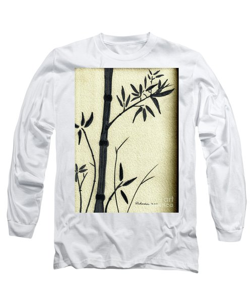 Zen Sumi Antique Bamboo 1a Black Ink On Fine Art Watercolor Paper By Ricardos Long Sleeve T-Shirt