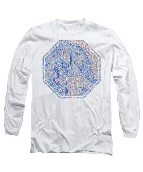 Zentangle Elephant-oil Long Sleeve T-Shirt by Becky Herrera