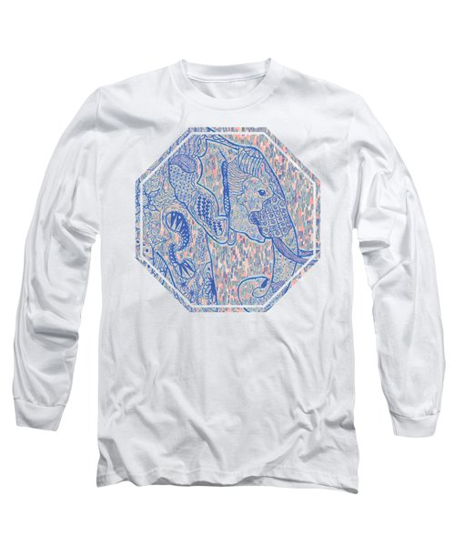 Zentangle Elephant-oil Long Sleeve T-Shirt