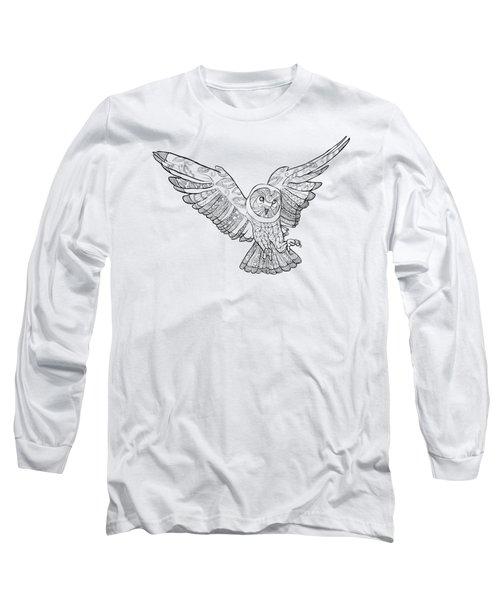 Zentangle Owl In Flight Long Sleeve T-Shirt by Cindy Elsharouni
