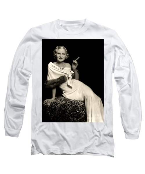 Ziegfeld Model Reclining In Evening Dress  Holding Cigarette By Alfred Cheney Johnston Long Sleeve T-Shirt