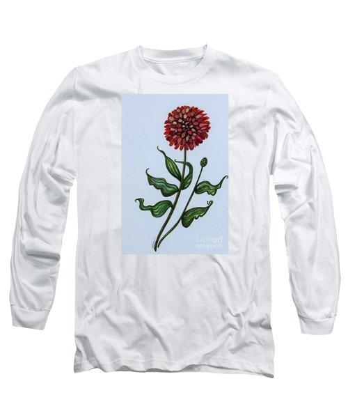 Zinnia Botanical Long Sleeve T-Shirt by Elizabeth Robinette Tyndall