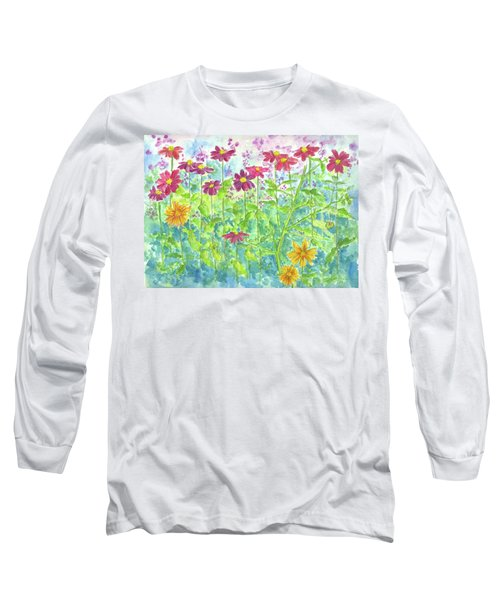 Long Sleeve T-Shirt featuring the painting Zinnias  by Cathie Richardson