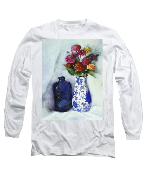 Zinnias With Blue Bottle Long Sleeve T-Shirt by Marlene Book