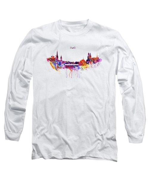 Zurich Skyline Long Sleeve T-Shirt by Marian Voicu