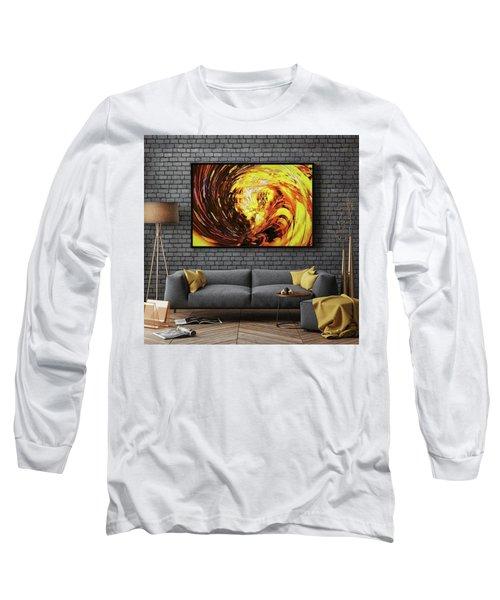 Abstract Gold Swirl Long Sleeve T-Shirt
