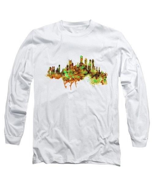 Boston Watercolor Skyline Long Sleeve T-Shirt