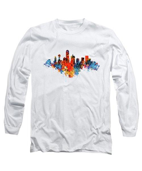 Dallas Watercolor Skyline  Long Sleeve T-Shirt