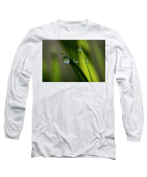Rain Drops On Grass Long Sleeve T-Shirt
