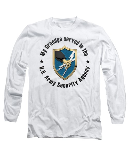 U. S.  Army Security Agency -  A S A  Patch Over White Leather Long Sleeve T-Shirt