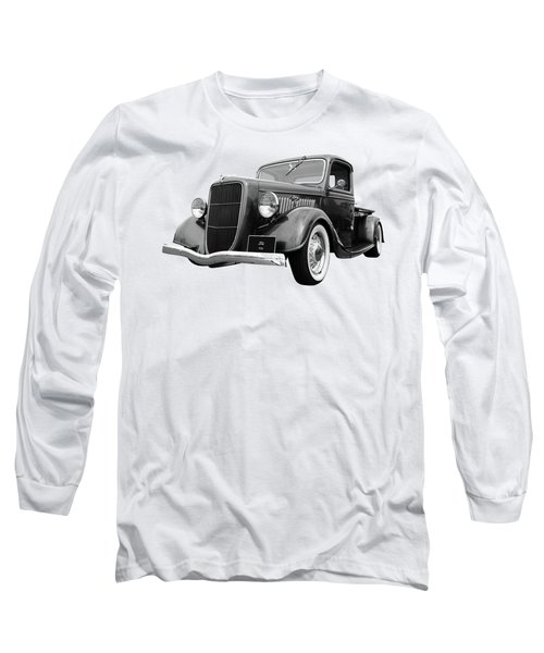 1936 Ford V8 In Black And White Long Sleeve T-Shirt