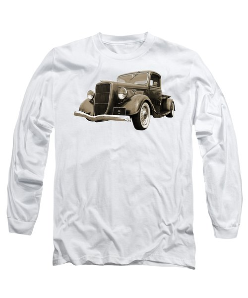 1936 Ford V8 In Sepia Long Sleeve T-Shirt