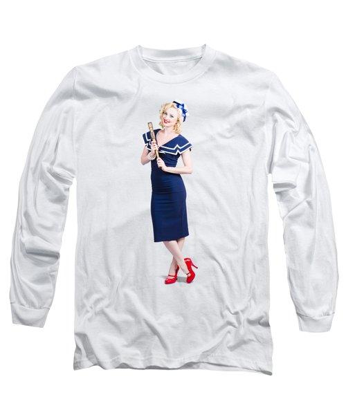 1950 Maritime Woman Holding Nautical Telescope Long Sleeve T-Shirt