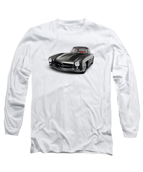 1955 Mercedes-benz 300sl Gullwing Coupe Grey Luxury Retro Car Isolated On White Art Photo Print Long Sleeve T-Shirt