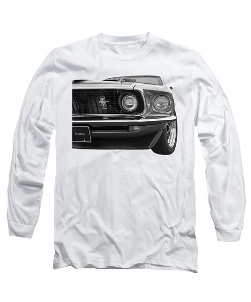 1969 Mustang Mach 1 Black And White Long Sleeve T-Shirt