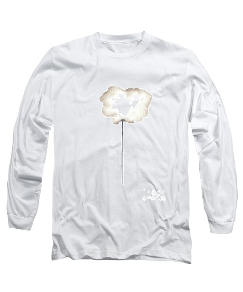 A Single Centred Sepia Cloud Poppy  Long Sleeve T-Shirt