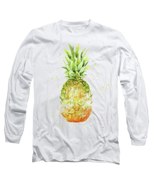 Abstract Watercolor Pineapple Long Sleeve T-Shirt