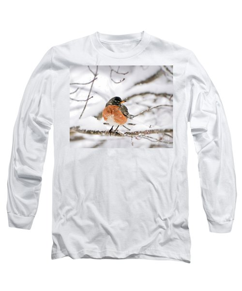 American Robin In The Snow Long Sleeve T-Shirt