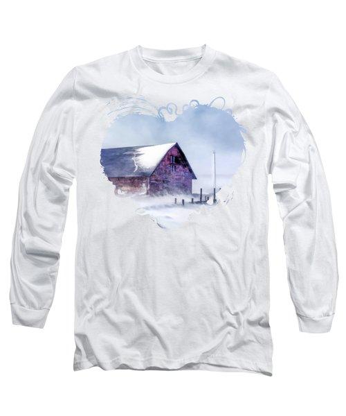 Anderson Dock Winter Storm In Door County Long Sleeve T-Shirt