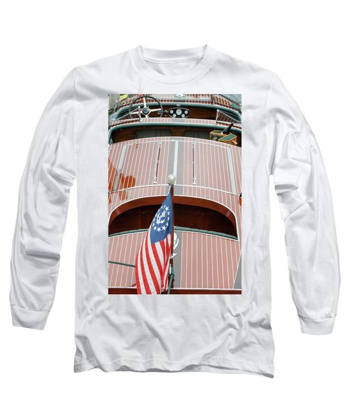 Antique Wooden Boat With Flag 1303 Long Sleeve T-Shirt