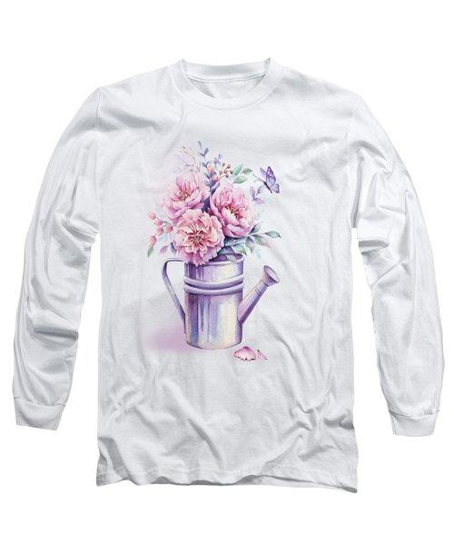 Long Sleeve T-Shirt featuring the painting Pink Peonies Blooming Watercolour by Georgeta Blanaru