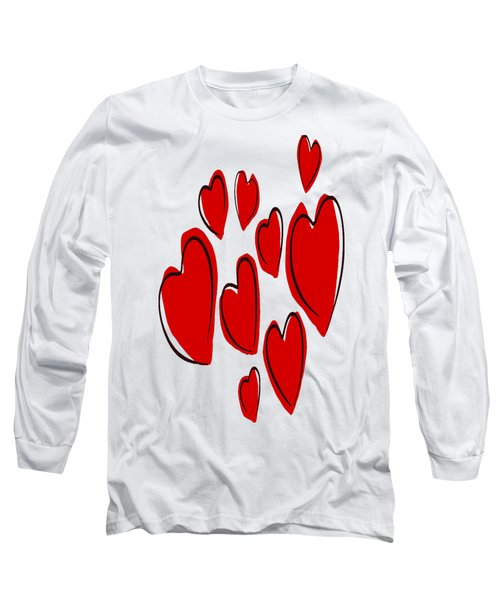 Cute Hearts Random Pattern Long Sleeve T-Shirt