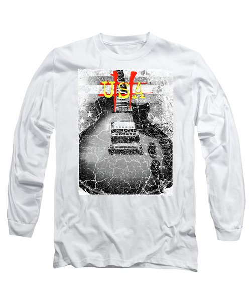 Usa Flag Guitar Relic Long Sleeve T-Shirt