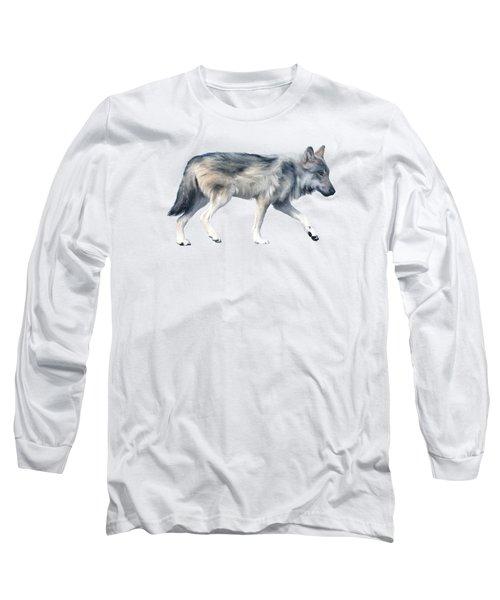 Wolf On Blush Long Sleeve T-Shirt