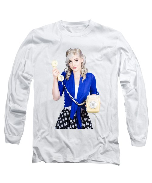 Attractive Blond Female Secretary On Vintage Phone Long Sleeve T-Shirt