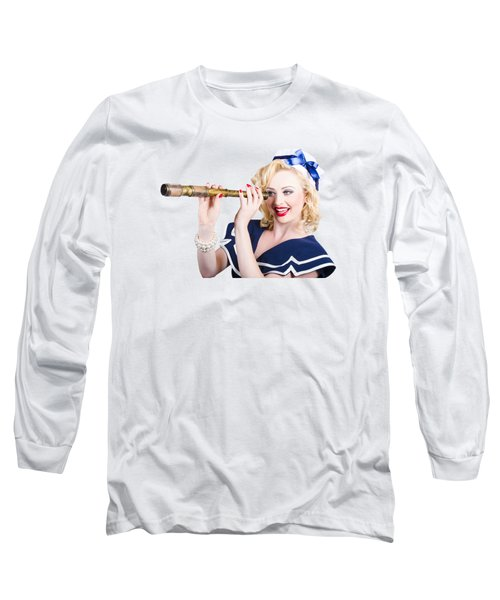 Attractive Pinup Sailor Girl With A Monocular Long Sleeve T-Shirt
