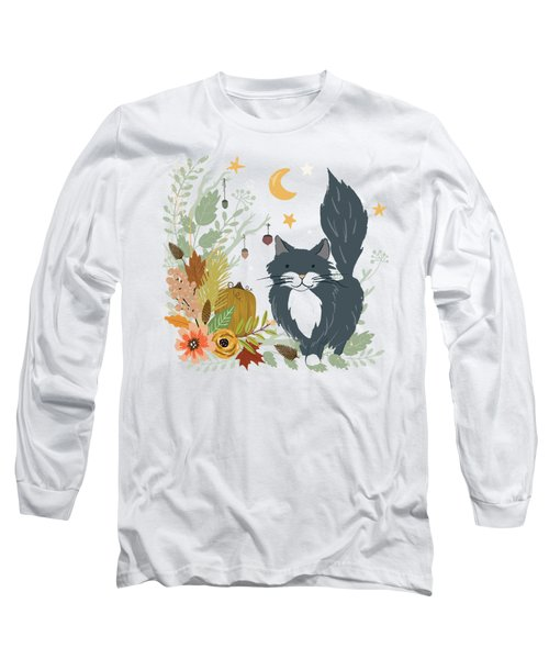 Autumn Garden Moonlit Kitty Cat Long Sleeve T-Shirt